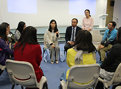 會後,兩位講者與來自澳門的老師進行小組分享,交流心得。